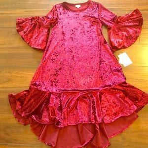 NWT Lularoe Maurine crushed maroon velvet dress